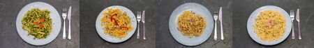 Collage, Several types of Italian pastas with spinach red fish, tomato sauce, meat and cheese