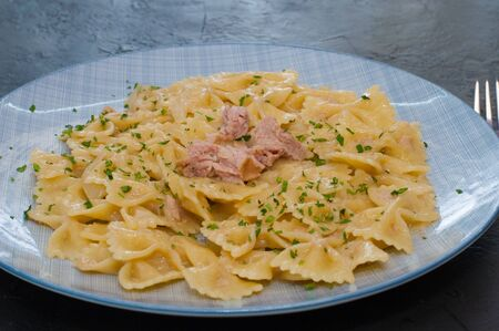 Delicious traditional Italian food. Pasta with tuna, cheese and spices