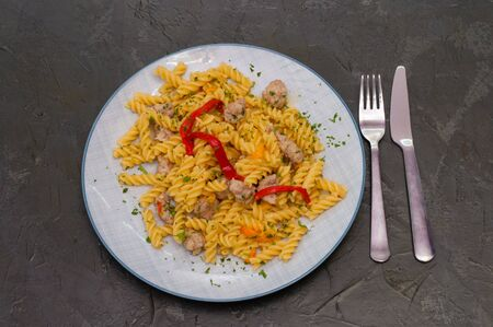 Italian pasta with meat, cheese, spices, parsley and tomato sauce. Gourmet traditional food