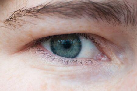Female eye close-up. Concept for skin eyelashes and eyes.