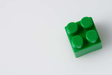 Green block constructor on a white background. Construction idea concept