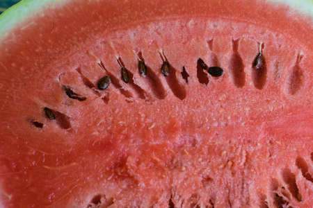 Delicious pulp of ripe watermelon close-up. Sliced watermelon, juicy pulp and seeds macro