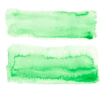 watercolor brush: Watercolor green brush stroke set, hand drawn paint isolated on white background