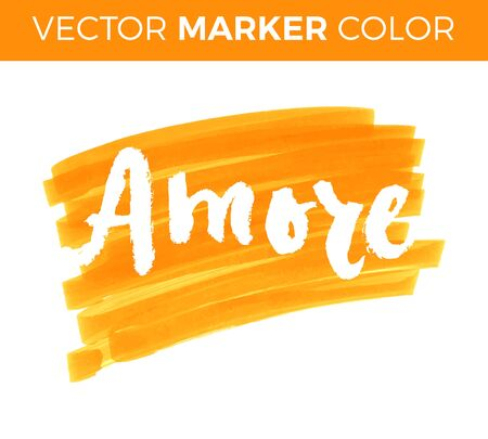 typography signature: Amore. Love in Italian. Hand lettering calligraphy marker in hearts background. Vector for romantic cards for Valentines day or wedding. Illustration