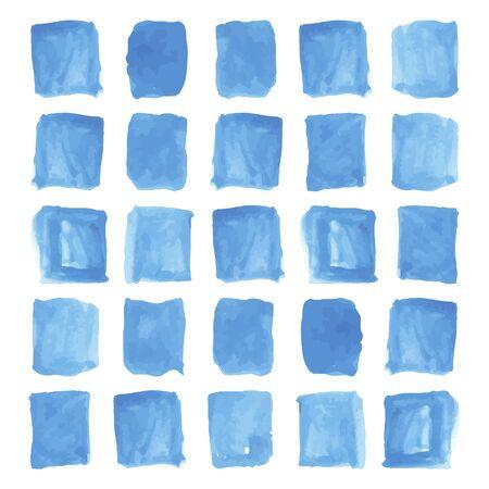 descriptive: Handpainted blue squares watercolor