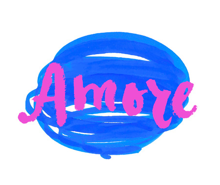 amore: Amore. Love in Italian. Hand lettering calligraphy marker in hearts background. Vector for romantic cards for Valentines day or wedding. Illustration
