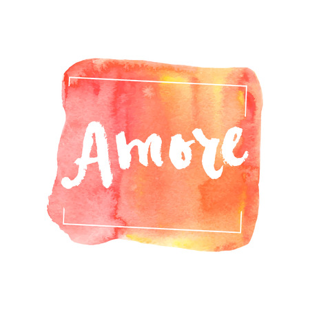 amore: Amore, ink hand lettering. Abstract watercolor background.