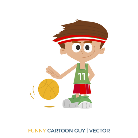 Color illustration. Basketball player
