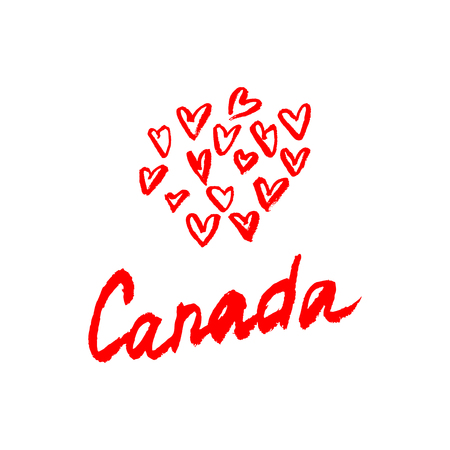 Canada lettering logo with element isolated. Hand drawn vector. Illustration