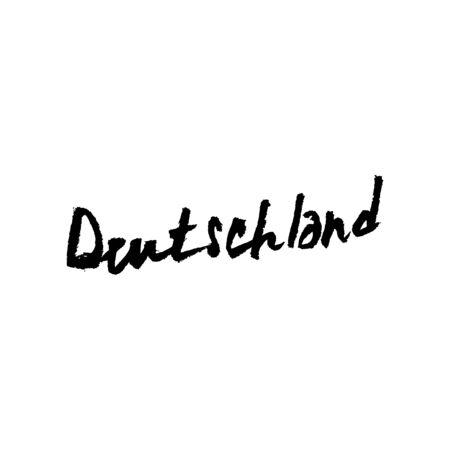 deutschland: Hand sketched text Deutschland. Hand drawn german postcard, card, flyer, package, banner template. German lettering typography.