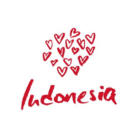 calligraphy pen: Indonesia, hand lettering vector. Modern calligraphy pen and ink. Illustration