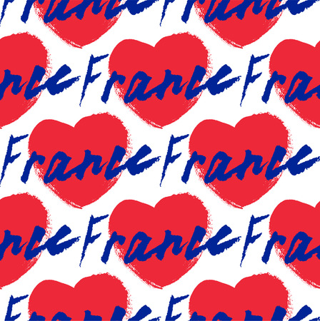 calligraphy pen: France, hand lettering vector. Modern calligraphy pen and ink. Pattern.