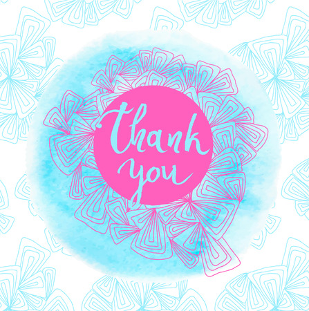 cerulean: Thank you message, tank you text. Vector illustration.