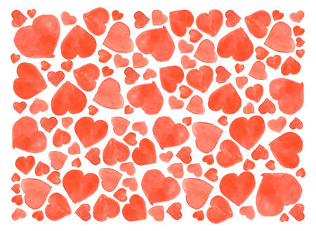 Set of watercolor hearts. Hand-drawn various hearts isolated on white background. Wedding or Valentines template.