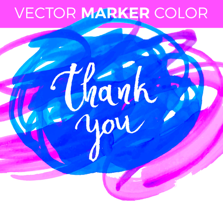 Thank you card, ink hand lettering. Abstract marker shape. Illustration