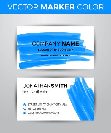 scribe: Two sided business card template. Black paint strokes markers.