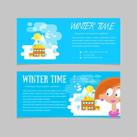 first house: Flat set of winter landscapes. Flat style: winter time in mountains. Set of banners for business.