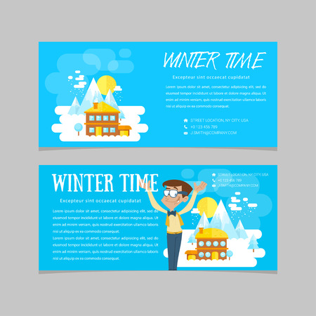 ski resort: Flat set of winter landscapes. Ski resort and little house in mountains. Flat style: winter time in mountains. Set of banners for business. Illustration
