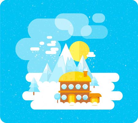 Ski resort in mountains, winter time, snow and fun