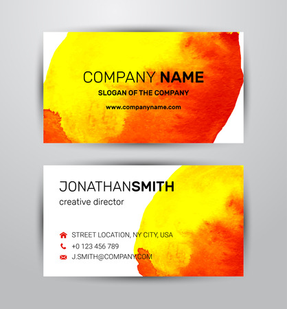Vector watercolor corporate identity element template for two side business card and banner Ilustração