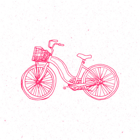 spoke: Cute Pink Bicycle isolated on white background. See also vector version