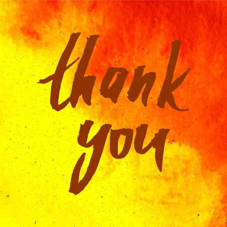 splutter: Vector handwritten calligraphy inscription on red and yellow grunge watercolor stain background - Thank you.