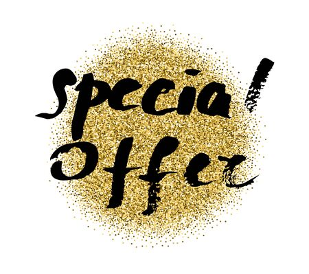 price reduction: Special offer banner, gold glitter lettering. Professional bright banner announcing the price reduction, sale or seasonal offer Illustration