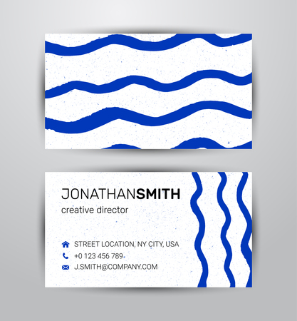 Vector watercolor corporate identity element template for two side business card and banner in blue nautical eco theme in wave shape