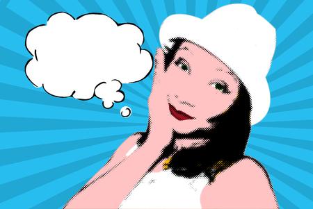 woman dreaming: Beautiful young woman dreaming Stock Photo