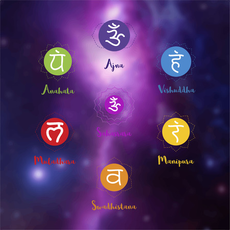 anahata: Chakras icons. Concept of chakras used in Hinduism, Buddhism and Ayurveda. For design, associated with yoga and India. Vector Sahasrara, Ajna, Vissudha, Anahata, Manipura, Svadhisthana, Muladhara
