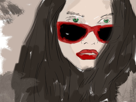 eyewear fashion: Woman closeup portrait in eyewear, fashion glasses. Beautiful young lady wearing glasses, female face on bright background. Stock Photo