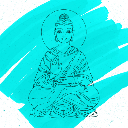 spiritual spirituality: Sitting Buddha over watercolor background. Vector illustration. Vintage decorative composition. Indian, Buddhism, Spiritual motifs. Tattoo, yoga, spirituality.