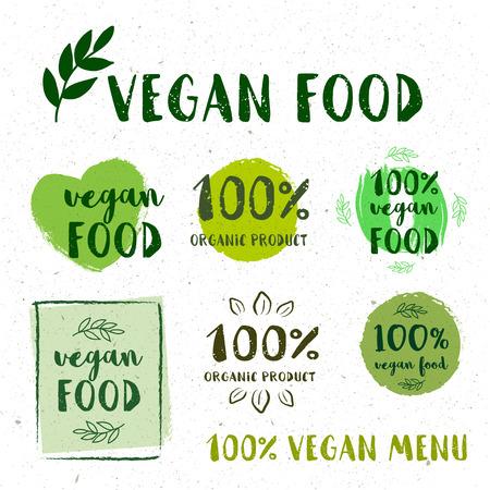 Retro set of 100 bio, organic, gluten free, eco, healthy food labels.