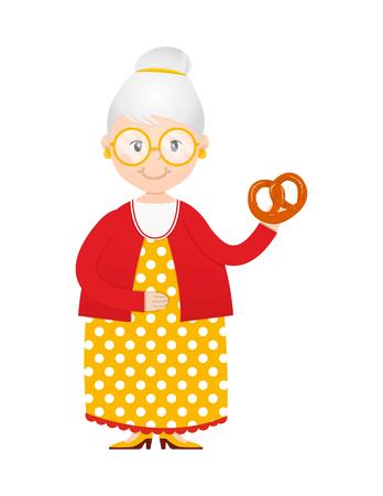 Cartoon grandma with cakes in hand vector