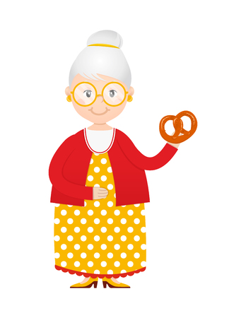 Cartoon grandma with cakes in hand vector
