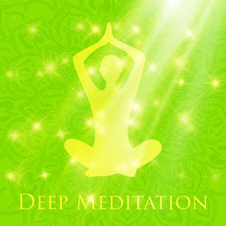 morning rituals: Yoga lotus pose woman meditating deep in crossed-legged Illustration