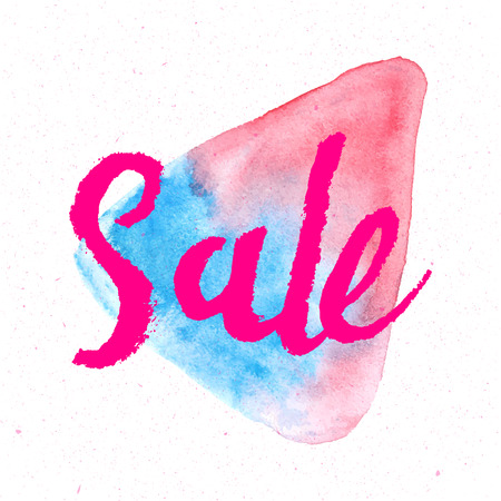 Handmade calligraphy. Sale hand lettering abstract watercolor design template.
