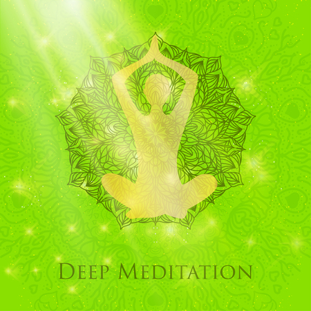 Yoga lotus pose woman meditating deep in crossed-legged Illustration