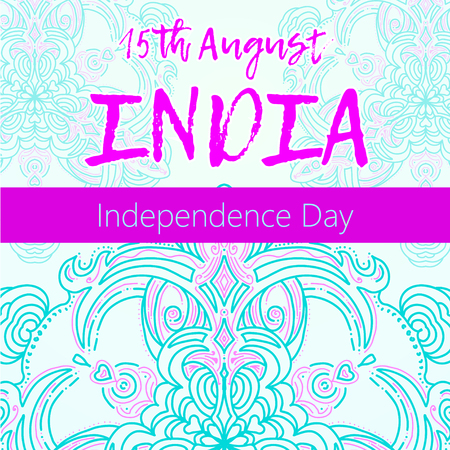 Independence Day of India. 15 th of August with mandala Illustration
