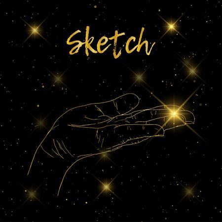 Sketch hand begging hands. Vector line illustration background Illustration