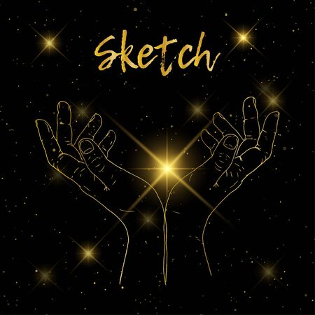 Sketch hand begging hands. Vector line illustration background Illustration