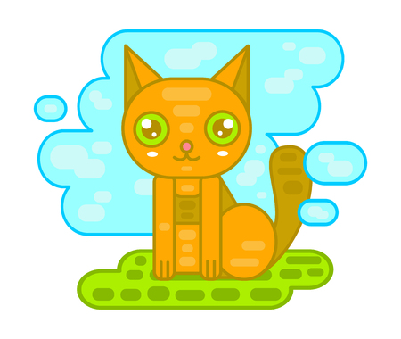 Vector happy red cute cat little