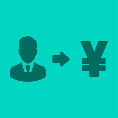 Vector user earnings icon with currency user-interface