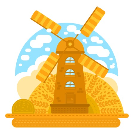 Wind mill vector illustration. For logotype, label, badges, poster web icon