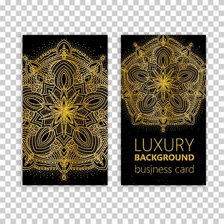 meditation man: Vintage decorative elements. Business Cards. Ornamental floral. Oriental pattern, vector illustration.
