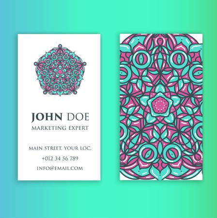 web site design template: Vintage decorative elements. Business Cards. Ornamental floral. Oriental pattern, vector illustration Illustration