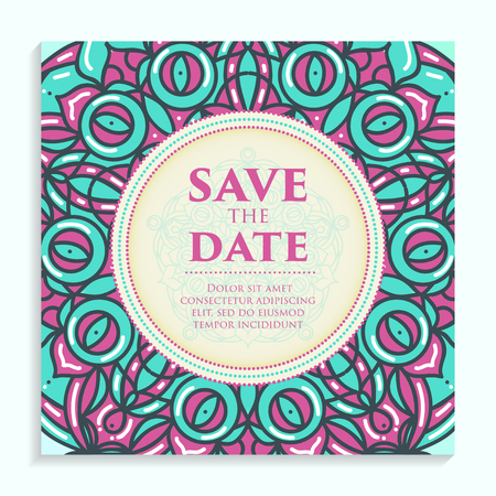 romantic date: Vintage template design layout for Wedding invitation. Wedding invitation, thank you card, save the date cards Illustration