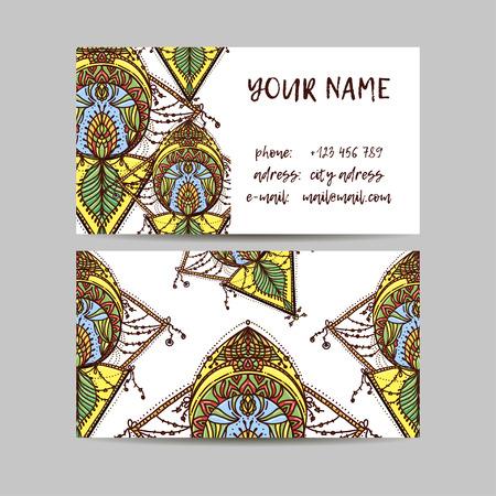 web site design template: Vintage decorative elements. Business Cards. Ornamental floral. Oriental pattern, vector illustration. Islam, Arabic Indian turkish