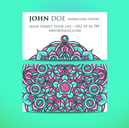 meditation man: Business ornamental floral cards.