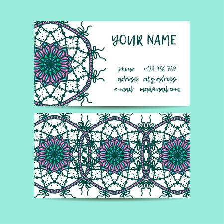 web site design template: Vintage decorative elements. Business Cards. Ornamental floral. Oriental pattern, vector illustration.